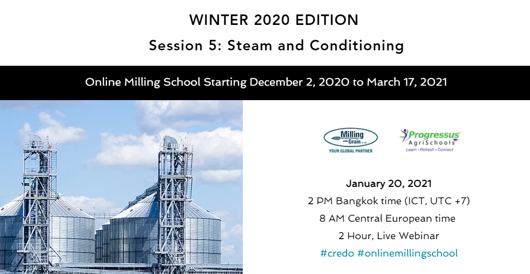 Register now for the Online Milling School's Steam and Conditioning session